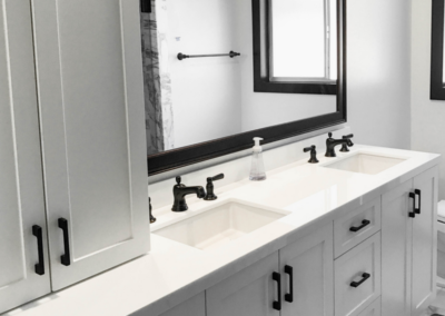 Black and White Double Vanity Black Finishes