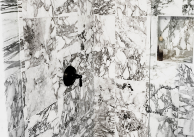 Black and White Marble Shower Black Finishes