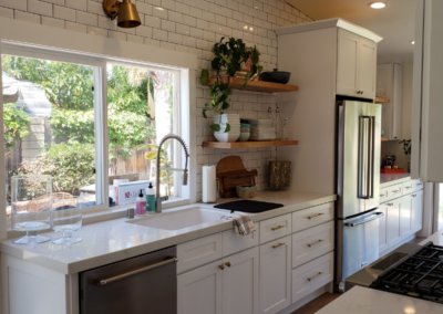 White Shaker Cabinets Brass Fixtures
