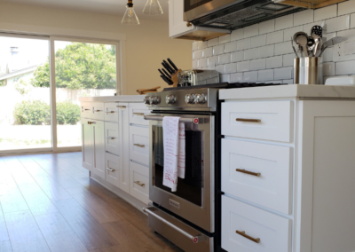Wood Floors Stainless Steel Oven and Microwave